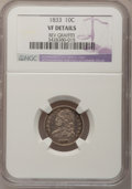 Bust Dimes, 1833 10C --Rev Graffiti--NGC Details. VF. NGC Census: (2/255). PCGSPopulation (7/310). Mintage: 485,000. Numismedia Wsl. Pr...