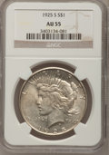 Peace Dollars: , 1925-S $1 AU55 NGC. NGC Census: (102/3995). PCGS Population(128/5534). Mintage: 1,610,000. Numismedia Wsl. Price for probl...