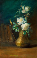 Fine Art - Painting, American:Modern  (1900 1949)  , IDA WELLS STROUD (American, 1869-1944). Vase of White Roses,1907. Watercolor on board. 23-1/4 x 15-1/4 inches (59.1 x 3...