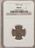 Barber Dimes: , 1905-S 10C MS62 NGC. NGC Census: (28/73). PCGS Population (23/108).Mintage: 6,855,199. Numismedia Wsl. Price for problem f...