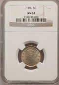 Liberty Nickels: , 1896 5C MS63 NGC. NGC Census: (60/138). PCGS Population (81/178).Mintage: 8,842,920. Numismedia Wsl. Price for problem fre...