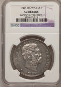 Coins of Hawaii: , 1883 $1 Hawaii Dollar--Improperly Cleaned--NGC Details. AU. NGCCensus: (21/147). PCGS Population (56/185). Mintage: 500,00...