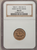 Civil War Patriotics, 1863 Token Hero Of Pea Ridge Token MS63 NGC. F-180/341 D....