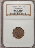 Civil War Merchants, 1863 Token Peterson's Jewelers, Pennsylvania, MS65 NGC.F-464A-5D....