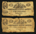 Confederate Notes:1862 Issues, T42 $2 1862. Two Examples.. ... (Total: 2 notes)