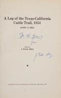Books:Signed Editions, James G. Bell and J. Evetts Haley [Editor]. A Log of theTexas-California Cattle Trail, 1854. Austin: SouthwesternHistorica...