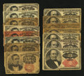 Fractional Currency:Fifth Issue, Fifth Issue 10¢ and 25¢ Mixture.. ... (Total: 15 notes)