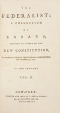Books:Americana & American History, [Alexander Hamilton, James Madison, and John Jay]. TheFederalist: A Collection of Essays, Written in Favour of the New...