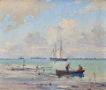 Texas:Early Texas Art - Regionalists, PAUL RICHARD SCHUMANN (American, 1876-1946). Entrance to theHarbor, Galveston, Texas. Oil on board . 10 x 12 inches (25...
