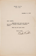 Autographs:Letters, 1928 Babe Ruth Signed Letter....