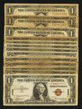 Small Size:World War II Emergency Notes, Fr. 2300 $1 1935A Hawaii Silver Certificates. Thirteen Examples. Very Good or Better.. ... (Total: 13 notes)