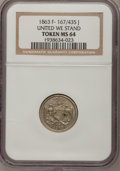 Civil War Patriotics, 1863 Token United We Stand Token MS64 NGC. F-167/435 J....