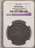 Seated Dollars: , 1873 $1 --Improperly Cleaned--NGC. Details Fine NGC Census:(0/135). PCGS Population (2/187). Mintage: 293,000. Numismedia W...
