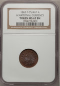 Civil War Patriotics, 1863 Token A National Currency Token MS67 Brown NGC. F-75/467 A....