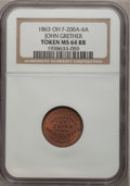 Civil War Merchants, 1863 Token Ohio, John Grether Token MS64 Red and Brown NGC.F-200A-6A....