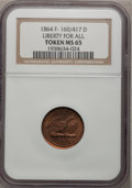Civil War Patriotics, 1864 Token Liberty For All Token MS65 NGC. F-160/417 D....