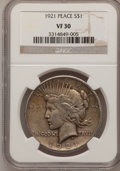 Peace Dollars: , 1921 $1 VF30 NGC. NGC Census: (34/10271). PCGS Population(62/12646). Mintage: 1,006,473. Numismedia Wsl. Price forproblem...