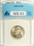 Washington Quarters: , 1936-D 25C MS63 ANACS. Highly lustrous surfaces are visited bywhispers of tan-gold patination, especially on the reverse, ...
