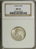 Washington Quarters: , 1936-D 25C MS64 NGC. Silver-gray, lustrous surfaces display faintice-blue undertones and occasional splashes of golden-bro...