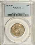 Washington Quarters: , 1936-D 25C MS65 PCGS. Softly lustrous beneath speckled golden-graypatina. This well struck Gem has a single small mark on ...