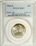 Washington Quarters: , 1941-D 25C MS67 PCGS. Fully struck with a bright, satiny sheen andnear-immaculate surface preservation. A band of red-oran...