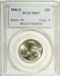 Washington Quarters: , 1941-S 25C MS67 PCGS. Well struck, highly lustrous, and impeccablypreserved. The mostly untoned surfaces reveal a minute a...