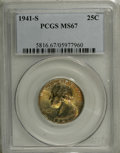 Washington Quarters: , 1941-S 25C MS67 PCGS. The reverse of this Superb Gem is fullybrilliant, while a melange of pretty yellow-gold, red, lime-g...