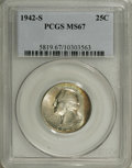 Washington Quarters: , 1942-S 25C MS67 PCGS. Iridescent gold, ice-blue, and golden-browntoning visits virtually pristine surfaces that exude dazz...