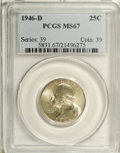 Washington Quarters: , 1946-D 25C MS67 PCGS. A lustrous satiny white example with just ahint of golden haze to note the passage of time. Excellen...