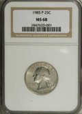 Washington Quarters: , 1985-P 25C MS68 NGC. Sparkling luster adheres to pristine surfacesthat display just a whisper or two of gold color. A shar...