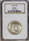 Franklin Half Dollars: , 1950-D 50C MS66 NGC. Well struck and satiny beneath soft rose-graypatina. An attractive example of this issue, which is su...