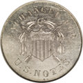 Patterns: , 1863 10C Ten Cents, Judd-327, Pollock-397, High R.6, PR62 NGC. The obverse depicts a Union shield pierced by two arrows, a ...