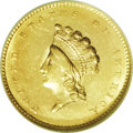 Gold Dollars: , 1855 G$1 MS62 NGC. A bright yellow-gold example of this popularType Two Indian Head gold dollar. A sharp strike is noted o...