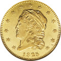 Early Quarter Eagles: , 1825 $2 1/2 AU58 NGC. Breen-6129, BD-3, High R.6. Although the 1825has a tiny emission of only 4,434 pieces, three die mar...