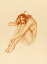 ALBERTO VARGAS (American, 1896-1982) Seated Nude Mixed media on board 25.5 x 19 in. Signed lo