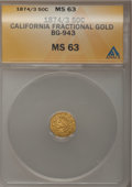 California Fractional Gold, 1874/3 50C Indian Octagonal 50 Cents, BG-943, High R.4, MS63 ANACS.NGC Census: (1/2). PCGS Population (12/15). (#10801)...