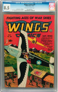 Golden Age (1938-1955):War, Wings Comics #38 (Fiction House, 1943) CGC VF+ 8.5 Off-white towhite pages....