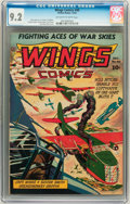 Golden Age (1938-1955):War, Wings Comics #40 (Fiction House, 1943) CGC NM- 9.2 Off-white towhite pages....