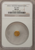 California Fractional Gold, 1872/1 25C Indian Round 25 Cents, BG-869, Low R.4, MS62 NGC. NGCCensus: (2/6). PCGS Population (16/91). (#10730)...