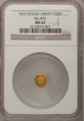 California Fractional Gold: , 1870 25C Liberty Round 25 Cents, BG-835, R.3, MS62 NGC. NGC Census:(12/0). PCGS Population (61/28). (#10696)...