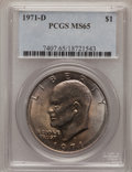 Eisenhower Dollars: , 1971-D $1 MS65 PCGS. PCGS Population (2203/817). NGC Census: (1141/601). Mintage: 68,587,424. Numismedia Wsl. Price for pro...