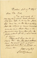 "Autographs:Statesmen, Oliver Wendell Holmes Sr. Autograph Letter Signed. One page, 4.5"" x 7"", with integral blank, Boston, October 27, 1891. The a..."