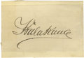 "Autographs:Statesmen, King Kalakaua (1836-1891), King of Hawaii, Signature on lined paper mounted to a card, 4"" x 3"". Some feathering to ink, othe..."