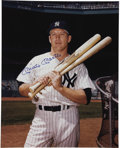 """Autographs:Celebrities, Mickey Mantle Oversized Photograph Signed """"Mickey Mantle"""" in blue sharpie, 16"""" x 20"""", circa 1965. Mantle is posed in Yan..."""