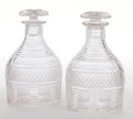 Decorative Arts, British:Other , A PAIR OF GEORGE IV CUT GLASS DECANTERS WITH STOPPERS . England,circa 1825. Unmarked. 8-1/4 inches high (21.0 cm). ... (Total: 4Items)