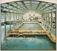 A FOUR-PANEL AMERICAN CHOMOLITHOGRAPH POSTER: THE SUTRO BATHS San Francisco, Ca