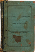 Books:First Editions, Austin: Gray & Moore's Mercantile and General City Directoryof Austin, Texas - 1872-1873. First edition. Austin...