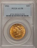 Liberty Eagles: , 1902 $10 AU58 PCGS. PCGS Population (40/445). NGC Census: (48/582).Mintage: 82,400. Numismedia Wsl. Price for problem free...