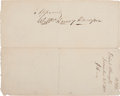 "Autographs:U.S. Presidents, William Henry Harrison Document Signed. Two pages (recto and verso), 8.25"" x 6.75"", ""Quarter-Master's Department, North We..."