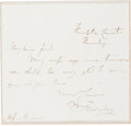 "Autographs:Inventors, Michael Faraday Autograph Letter Signed. One page, 4.5"" x 6"",Hampton Court [England], ""Thursday [n.y.]"". The Englishph..."
